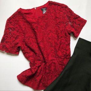 Ann Taylor lace peplum top; size XXSP; NWT